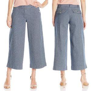 Jones New York Railroad Striped Blue Culotte Pants